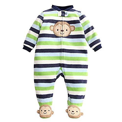 Bambino Pagliaccetto Fleece Tutina Pigiama Carino Tuta Maniche Lunghe Body 9-12 Mesi