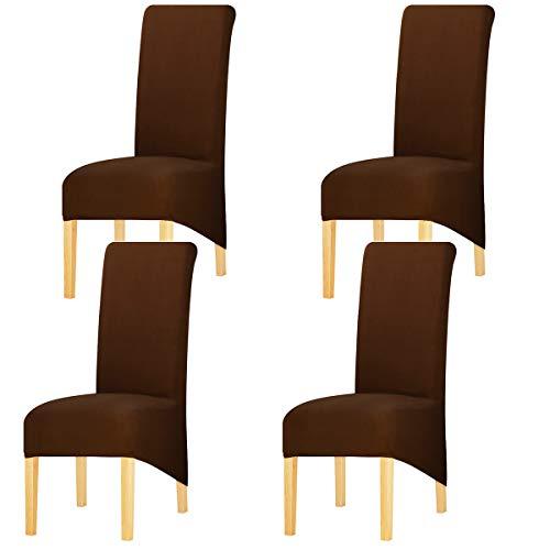 KELUINA Estiramiento sólido con respaldo alto Cubiertas de silla XL para comedor, fundas de silla de comedor grandes de Spandex para la vida en el hogar Restaurante Hotel (4 PACK,Café)