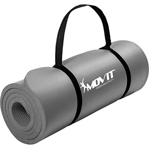 Movit Pilates Gymnastikmatte, Yogamatte, phthalatfrei, SGS geprüft, 183 x 60 x 1,0cm, Yoga Matte in Grau