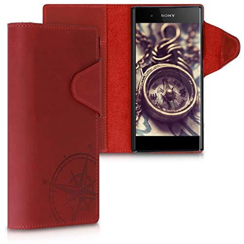 kalibri Sony Xperia XA1 Plus Hülle - Leder Handyhülle für Sony Xperia XA1 Plus - Handy Wallet Case Cover - Kompass Vintage Design Dunkelrot