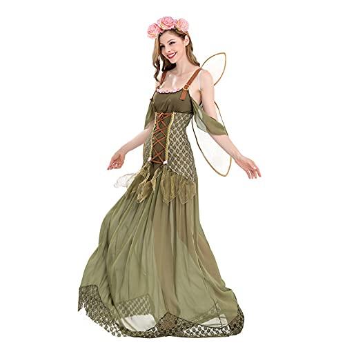 KAXI Costumes d'halloween pour Femmes, Forêt Verte Magique Papillon Fleur Fée Elfe Robe De Princesse Cosplay Costume avec des Ailes,Vert,S