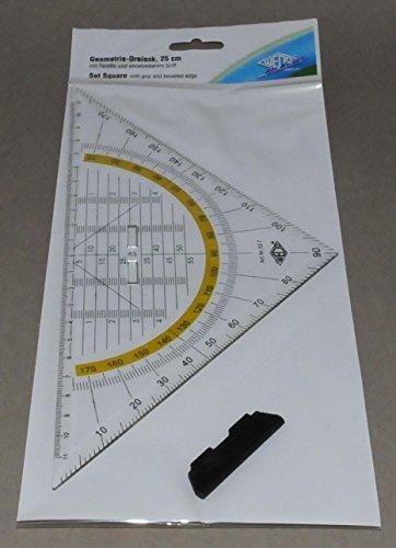 Wedo 527 Geometrie Dreieck 25 cm, Kunststoff, abnehmbarer Griff, Hypotenuse, Facetten, Tuschenoppen, transparent