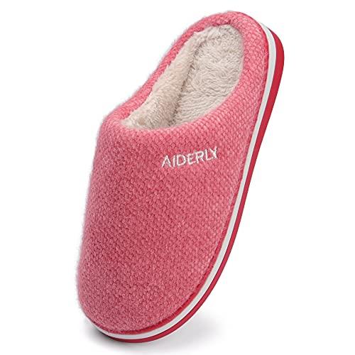 GAXmi Hausschuhe Damen Herren Bequeme Pantoffeln Weich Plüsch Warm Schuhe Winter Warm Indoor Rot 38/39 EU