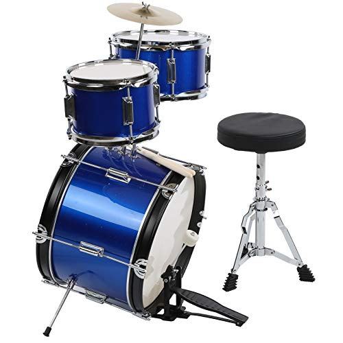 Junior Kit Tambor para niños con tambor a pedal plato de heces y bastones, soporte para batería regulable en altura, con taburete, apto para niños de 3 a 9 años, azul