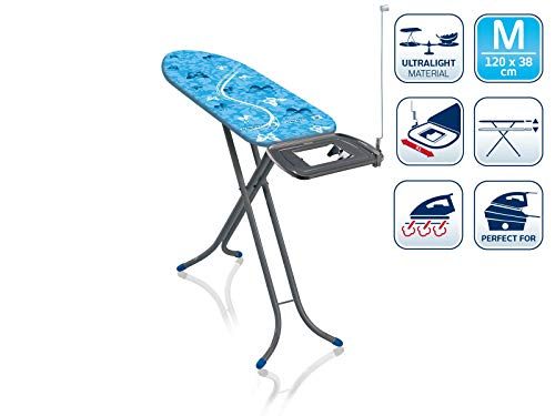 Leifheit Bügeltisch AirBoard Express M Compact 60years Color Edition blau, ideal für Dampfstationen, kompakt zu verstauen, Bügelbrett mit Baumwollbezug, Dampfbügelbrett mit ultraleichter Bügelfläche