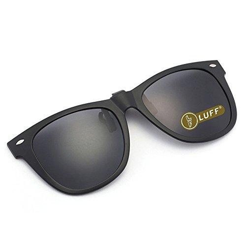 LUFF Gafas de sol polarizadas con clip Unisex-Elegantes y cómodos Clips Gafas de sol miopes para exterior/conducción/pesca (black)