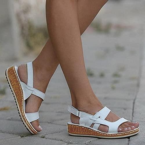 DZQQ Femmes Sandales été 2021 Femmes Chaussures Femme Peep-Toe Wedge Sandales Confortables Sandales Plates Femme Sandalias Grande Taille 43