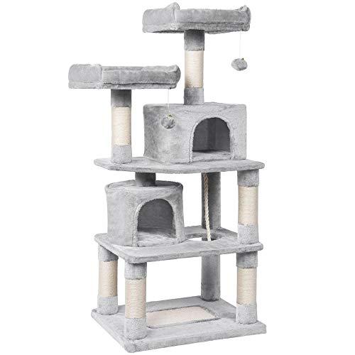 Yaheetech Kratzbaum für Katzen Katzenbaum Stabil H 145 cm robuster Kletterbaum mit Kratzbrett Hellgrau