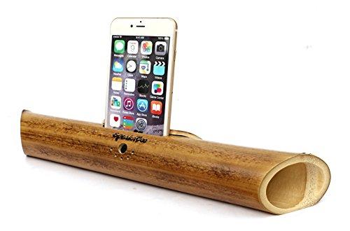 Amplificatore acustico universale REGOLABILE di bambù fiammato per gli smartphone di SpeakaBoo. Fatti a mano al 100% da bambù. Si adatta a iPhone 6 Plus e telefoni Android come Samsung Galaxy S5. Regalo per uomo e donne. Regalo ecologico.