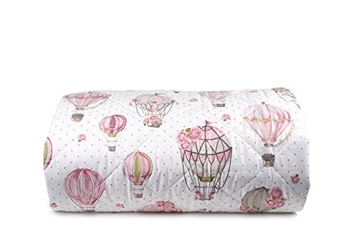 Trapuntino leggero letto copriletto in puro cotone Made In Italy SINGOLO MONGOLFIERE ROSA