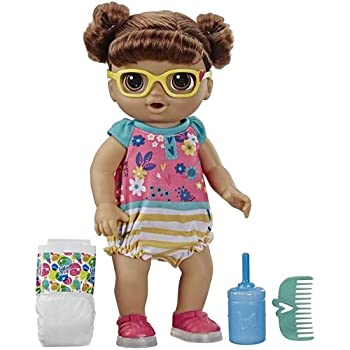 Baby Alive Step 'N Giggle Baby Brown Hair Doll with Light-Up Shoes Responds with 25+ Sounds & Phrases Drinks & Wets Toy for Kids Ages 3 Years Old & Up