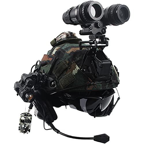 Juego de Casco Táctico, con Auriculares Y Gafas Militares, Montura NVG Y Modelo de Telescopio Combinación de Equipo Táctico, para Paintball Al Aire Libre Protección Airsoft,Sets d