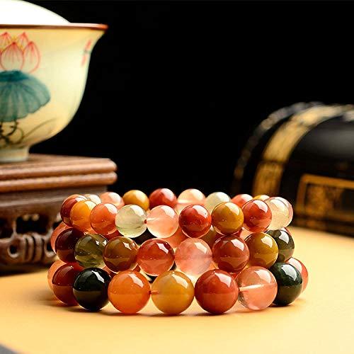 TWCAM Acero Cuero Pulsera Hombre- Hair Crystal Fu Lu Shou Bead Bracelet Crystal Bracelet, 8Mm, 2250