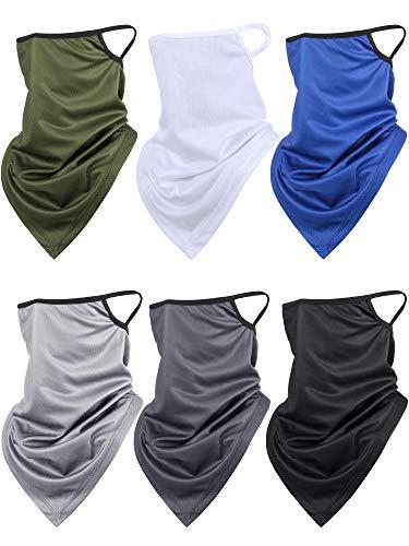 Ear Loop Scarf Bandana Face Cover Summer Triangle Neck Gaiter Head Wrap Scarves (Gray, Light Gray, Green, Royal Blue, Black, White, 6)