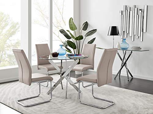 Furniturebox UK Novara Chrome Metal Round Glass Dining Table And 4 Black/White Lorenzo Dining Chairs (4 Cappuccino Grey Chairs)