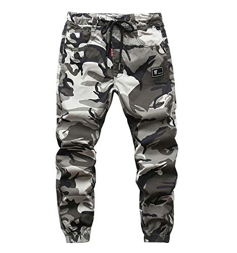YoungSoul Hosen für Jungen Jogginghose Camouflage Kinder Jungs Cargohose mit Gummizug Grau(Regular Fit) Größe 170/164-170