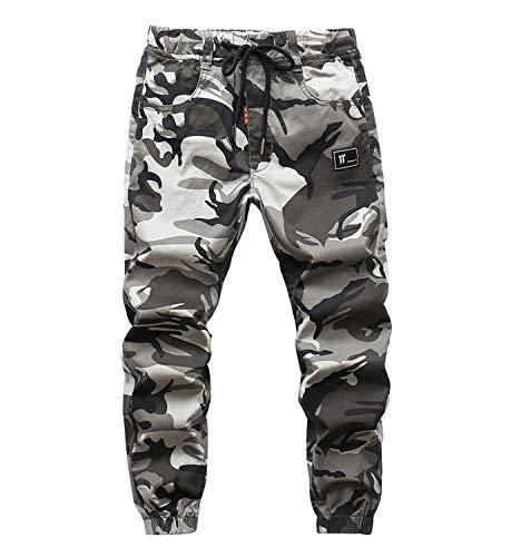 YoungSoul Hosen für Jungen Jogginghose Camouflage Kinder Jungs Cargohose mit Gummizug Grau(Regular Fit) Größe 150/140-146