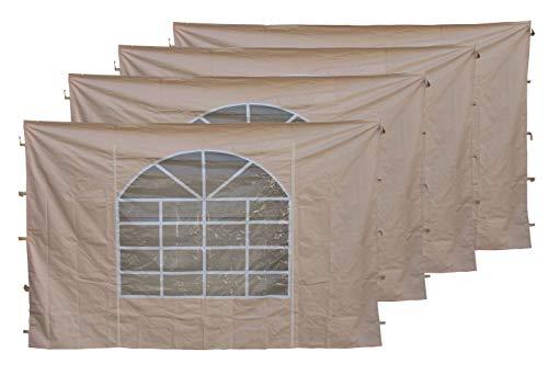 QUICK STAR 4 Seitenteile mit PVC Fenster 300x195cm für Pavillon Sahara 3x3m Seitenwand Sand