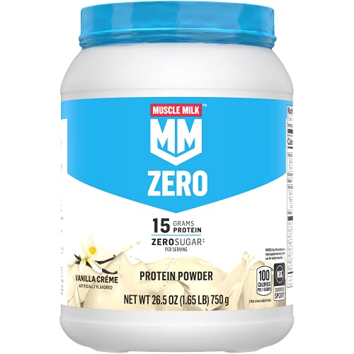 Muscle Milk Zero, 100 Calorie Protein Powder, Vanilla, 15g Protein, 1.65 Pound, 25 Servings (Packaging May Vary)