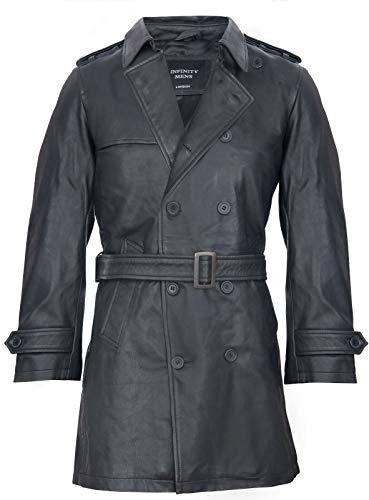 Mens Black German Military WW2 Vintage Long Trench Coat Genuine Leather Jacket 4XL