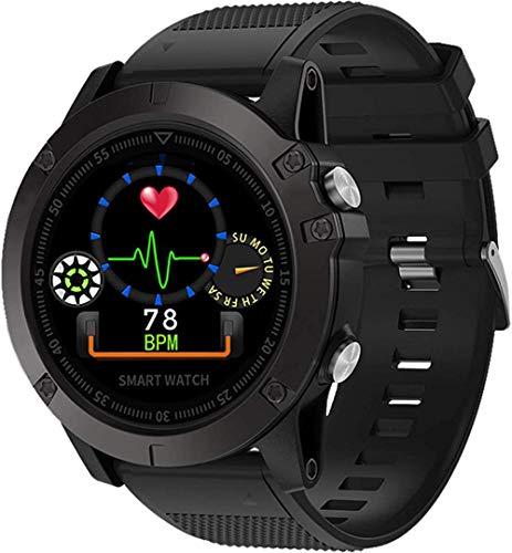 Reloj Inteligente Monitor De Ritmo Cardíaco Deporte Impermeable Recordatorio Fitness Tracker Reloj De Pulsera Hombres Mujeres-Negro