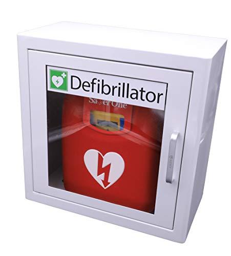 Saver One AED Defibrillator A1 (SVO-B0847) (vollautomatische Schockauslösung) mit Metallwandkasten und AED-Standortwinkel
