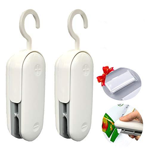 Mini Bag Sealer, 2Pack Portable Sealing Machine Plastic Bag Sealer, 2 in 1 Heat Seal and Cutter, Handheld Food Sealer Heat Seal for Chip Bag & Plastic Bags, Food Storage Helper (grey)