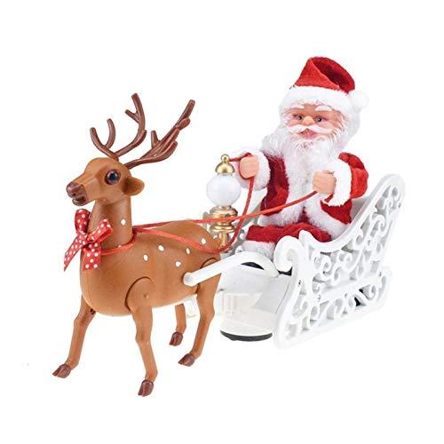 Fvnicbb Regalos de Santa Claus muñeca Elk Trineo de Juguete Universal Coche eléctrico con Música Niños Niños de Navidad eléctrica de Juguete muñeca Inicio Decoración de Navidad Decoración navideña