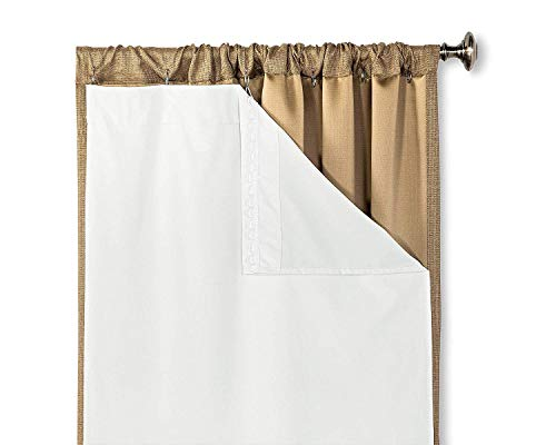 HLC.ME White Thermal Insulated 100% Blackout Curtain Liner for 63 inch Window Panels - Complete Darkness & Window Privacy, Energy Efficient, Noise Reducing - Hooks Included (2 Panels, 50 W x 60 inch)