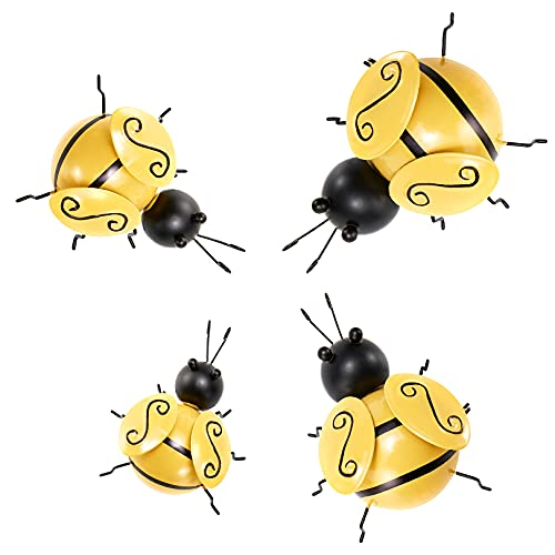 Metal Bumble Bee Decorations,Bumblebee Art Decoration for Bee Day,Sculpture Ornaments for Wall Hanging of Coffee Shop,Bar and Clothing Store,Lawn Ornaments Decor (4Pcs)