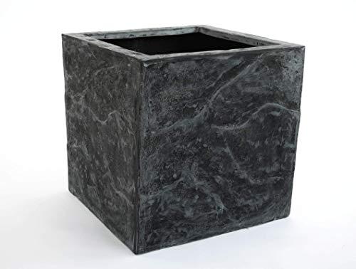 Elegant Einrichten Blumenkübel Fiberglas Stein-Optik quadratisch 30x30x30cm anthrazit grau.