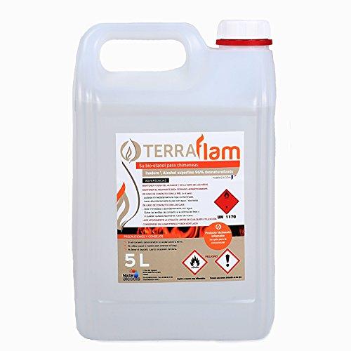 Terraflam Bidon de bioéthanol pour lampes et cheminées Combustion de grande qualité Ne génère pas de fumée ni d'odeurs Transparent 5 L