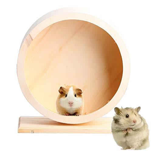 DINGZHAO Hamsterrad - Holzübungsrad für Haustiere, geräuschlos, lustiges Laufrad, Ruhhaus, Nest, rutschfeste Laufscheibe für Rennmäuse, Chinchillas, Igel, Mäuse und andere kleine Tiere (S)