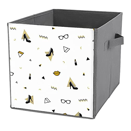 Caja de almacenamiento plegable, organizador de tela para guardar espacio con asas para el hogar, oficina, guardería, patrón de Memphis con zapatos de tacón alto negro