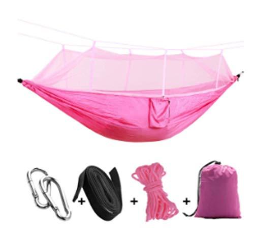 Hamac de Camping/Jardin avec moustiquaire Mobilier d'extérieur 1-2 Personne Portable lit Suspendu Force Parachute Tissu Sommeil Swing Rose