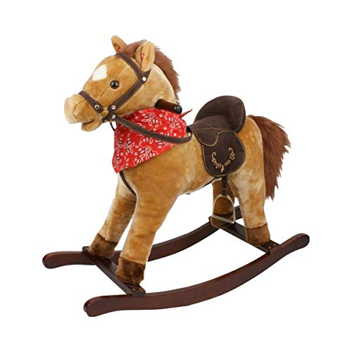 solini Le cheval à bascule avec selle et fonction sonore, brun
