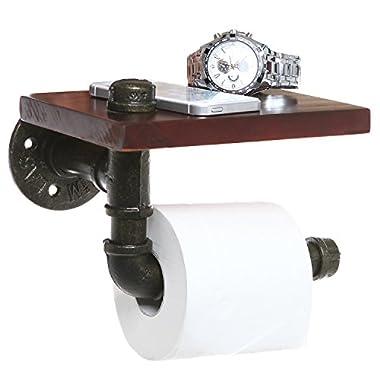 MyGift Rustic Style Pipe Design Brown Wood & Black Metal Wall Mounted Bathroom Shelf/Toilet Paper Roll Holder