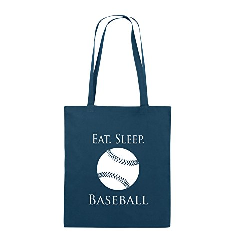 Comedy Bags - EAT. Sleep. Baseball - Ball - Jutebeutel - Lange Henkel - 38x42cm - Farbe: Navy/Weiss