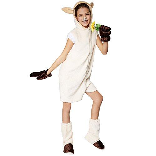 TecTake dressforfun Kinderkostüm Schaf | Süßes, Flauschiges Schafkostüm für Kinder | Vorne hat das Kostüm einen praktischen Reißverschluss | Inkl. Handschuhe und Beinstulpen (152 | Nr. 301546)