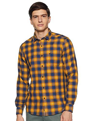 blackberrys Men's Checkered Slim Fit Casual Shirt (ESCC3419Y5NA18FL42_Ochre Yellow_42)