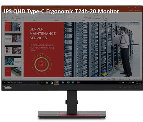 Lenovo ThinkVision T24H-20 23.8″ Near Edgeless Monitor QHD Type-C Monitor, IPS Panel, 16:9 Aspect Ratio, 60Hz, 4ms, 1000:1 Contrast, HDMI DP Inputs, Eye Comfort (Raven Black) 61F0GAR1WW