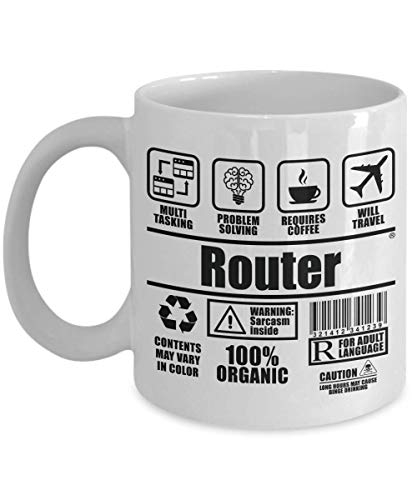 SnowLion Router Multi Tasking Problem Solving Requires Coffee Will Travel,gift Ceramic Coffee Mug for dad, mom, best friends