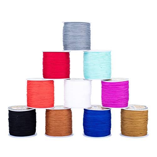 PandaHall Rollo de 10 rollos de cuerda redonda de poliéster de 0,8 mm, para pulseras, collares, joyas, suministros de macramé, 10 colores