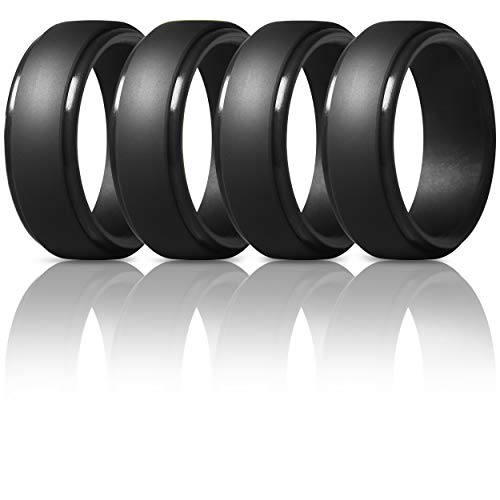 ThunderFit Men's Silicone Ring, Step Edge Rubber Wedding Band, 10mm Wide, 2.5mm Thick (4 Black Rings, 10.5-11 (20.6mm))