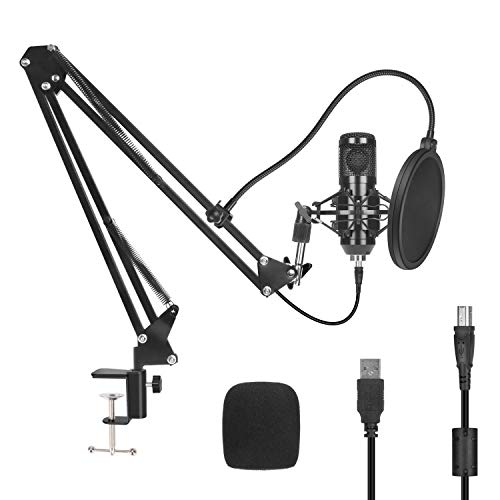 PEMOTech USB Condenser Recording Microphone Bundle Kit,Studio Computer Pc Game Microphone,Cardioid Mic With Sound Card Adjustable Arm Stand Shock Mount For Podcast Streaming YouTube Skype Gaming