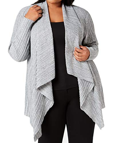 Alfani Womens Plus Pleated Heathered Cardigan Sweater Gray 1X