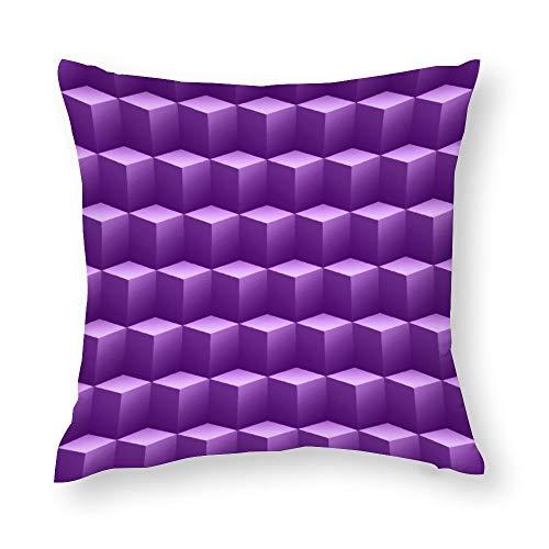 Purple Violet Cubes 3D Throw Pillow Covers Case Cushion Pillowcase with Hidden Zipper Closure for Sofa Home Decor 18 x 18 Inches