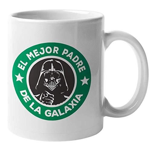 PLANETATAZAS - Taza Graciosa - El mejor padre de la galaxia - Star Wars Vader - 325 ml - Tazas con Frases Graciosas / Regalo padre / Regalo original / Regalo papa