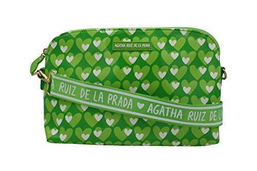 Agatha Ruiz de la Prada Bandolera bolso grande de mujer plastificada estampada con corazones verdes
