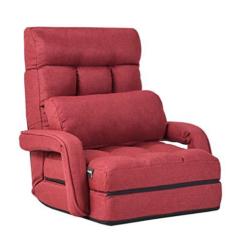 COSTWAY Klappsofa verstellbar, Bodenstuhlsofa gepolstert, Liegebett mit Armlehnen und Kissen, für Zuhause und Büro (Rot)